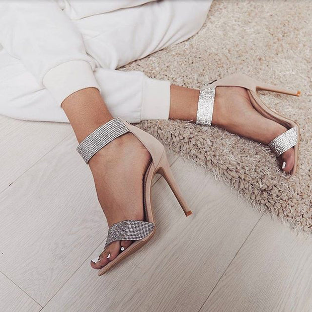Pointed Shiny Rhinestone Strappy High Heels - Shop Shiningbabe - Womens Fashion Online Shopping Offering Huge Discounts on Shoes - Heels, Sandals, Boots, Slippers; Clothing - Tops, Dresses, Jumpsuits, and More.
