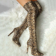 Snakeskin Print Thin Heeled Thigh High Boots - Shop Shiningbabe - Womens Fashion Online Shopping Offering Huge Discounts on Shoes - Heels, Sandals, Boots, Slippers; Clothing - Tops, Dresses, Jumpsuits, and More.