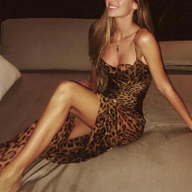 Sling Leaking Leopard Dress Evening Gown - Shop Shiningbabe - Womens Fashion Online Shopping Offering Huge Discounts on Shoes - Heels, Sandals, Boots, Slippers; Clothing - Tops, Dresses, Jumpsuits, and More.