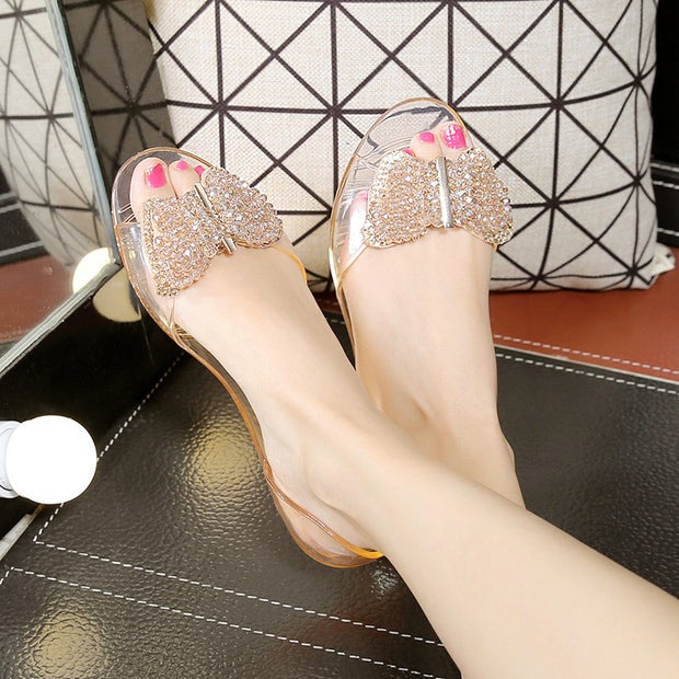 Rhinestone Pointed Bow Flat Sandals - Shop Shiningbabe - Womens Fashion Online Shopping Offering Huge Discounts on Shoes - Heels, Sandals, Boots, Slippers; Clothing - Tops, Dresses, Jumpsuits, and More.