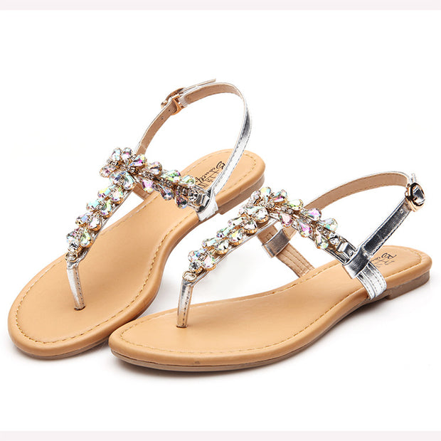 Rhinestone Beach Flat Sandals - Shop Shiningbabe - Womens Fashion Online Shopping Offering Huge Discounts on Shoes - Heels, Sandals, Boots, Slippers; Clothing - Tops, Dresses, Jumpsuits, and More.