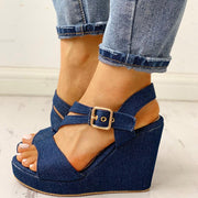 Denim Buckled Platform Wedge Sandals - Shop Shiningbabe - Womens Fashion Online Shopping Offering Huge Discounts on Shoes - Heels, Sandals, Boots, Slippers; Clothing - Tops, Dresses, Jumpsuits, and More.