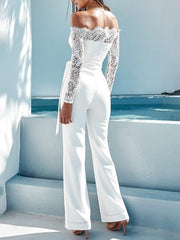 Lace Off Shoulder Belted Wide Leg Jumpsuit - Shop Shiningbabe - Womens Fashion Online Shopping Offering Huge Discounts on Shoes - Heels, Sandals, Boots, Slippers; Clothing - Tops, Dresses, Jumpsuits, and More.
