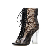Leopard Snake Pointed Tie Crystal High Heel Boots - Shop Shiningbabe - Womens Fashion Online Shopping Offering Huge Discounts on Shoes - Heels, Sandals, Boots, Slippers; Clothing - Tops, Dresses, Jumpsuits, and More.