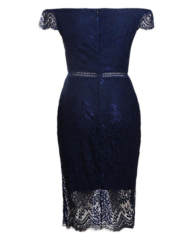 Elegant Off Shoulder Lace Sheath Midi Dress - Shop Shiningbabe - Womens Fashion Online Shopping Offering Huge Discounts on Shoes - Heels, Sandals, Boots, Slippers; Clothing - Tops, Dresses, Jumpsuits, and More.