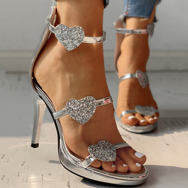 Sequins strap Heart Pattern Thin Heeled Sandals - Shop Shiningbabe - Womens Fashion Online Shopping Offering Huge Discounts on Shoes - Heels, Sandals, Boots, Slippers; Clothing - Tops, Dresses, Jumpsuits, and More.