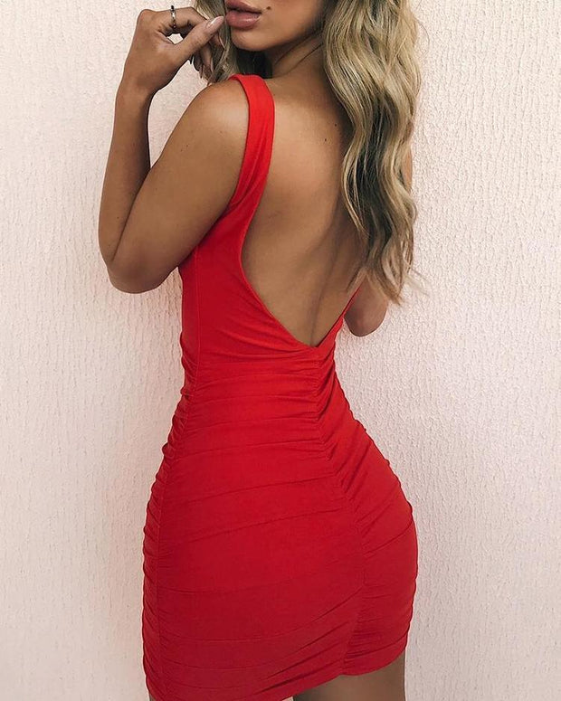 Open Back Ruched Design Bodycon Dress - Shop Shiningbabe - Womens Fashion Online Shopping Offering Huge Discounts on Shoes - Heels, Sandals, Boots, Slippers; Clothing - Tops, Dresses, Jumpsuits, and More.