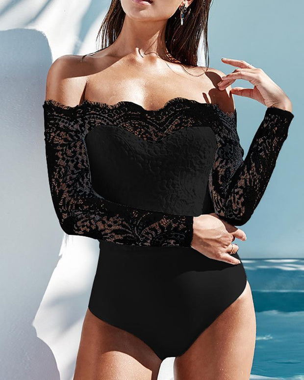 Off Shoulder Eyelash Lace Crochet Slinky Bodysuit - Shop Shiningbabe - Womens Fashion Online Shopping Offering Huge Discounts on Shoes - Heels, Sandals, Boots, Slippers; Clothing - Tops, Dresses, Jumpsuits, and More.