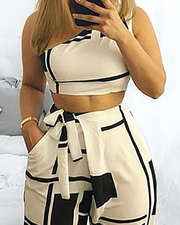 Colorblock One Shoulder Cropped Wide Pants Set - Shop Shiningbabe - Womens Fashion Online Shopping Offering Huge Discounts on Shoes - Heels, Sandals, Boots, Slippers; Clothing - Tops, Dresses, Jumpsuits, and More.