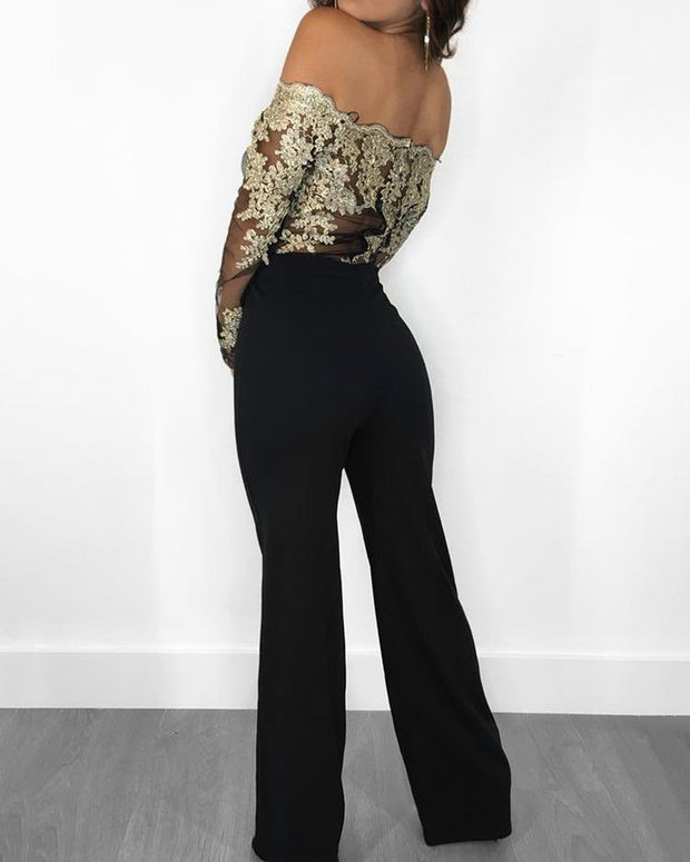 Flower Embroidery Off Shoulder Wide Leg Jumpsuit - Shop Shiningbabe - Womens Fashion Online Shopping Offering Huge Discounts on Shoes - Heels, Sandals, Boots, Slippers; Clothing - Tops, Dresses, Jumpsuits, and More.