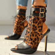 Leopard Print Peep Toe Buckled Thin Heeled Boot - Shop Shiningbabe - Womens Fashion Online Shopping Offering Huge Discounts on Shoes - Heels, Sandals, Boots, Slippers; Clothing - Tops, Dresses, Jumpsuits, and More.