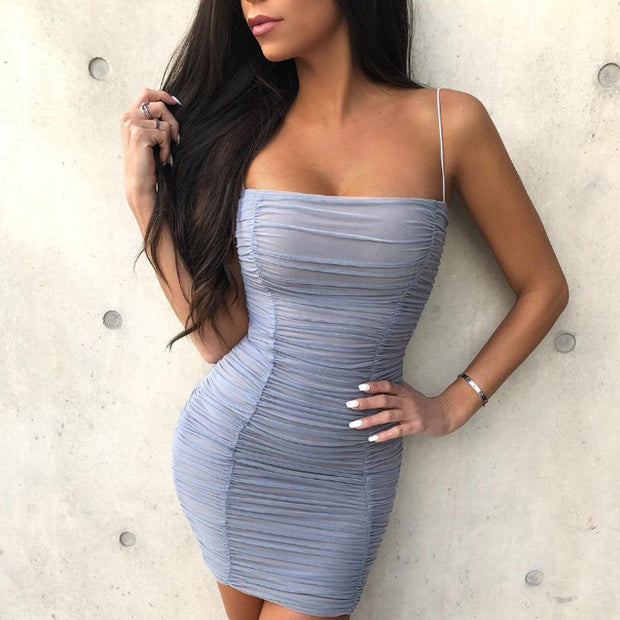 One shoulder Slim Sling Pleated Dress - Shop Shiningbabe - Womens Fashion Online Shopping Offering Huge Discounts on Shoes - Heels, Sandals, Boots, Slippers; Clothing - Tops, Dresses, Jumpsuits, and More.