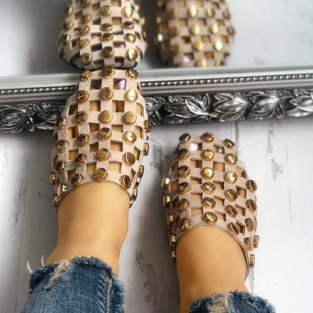 Rivet Hollow Out Non-Slip Flat Sandals - Shop Shiningbabe - Womens Fashion Online Shopping Offering Huge Discounts on Shoes - Heels, Sandals, Boots, Slippers; Clothing - Tops, Dresses, Jumpsuits, and More.