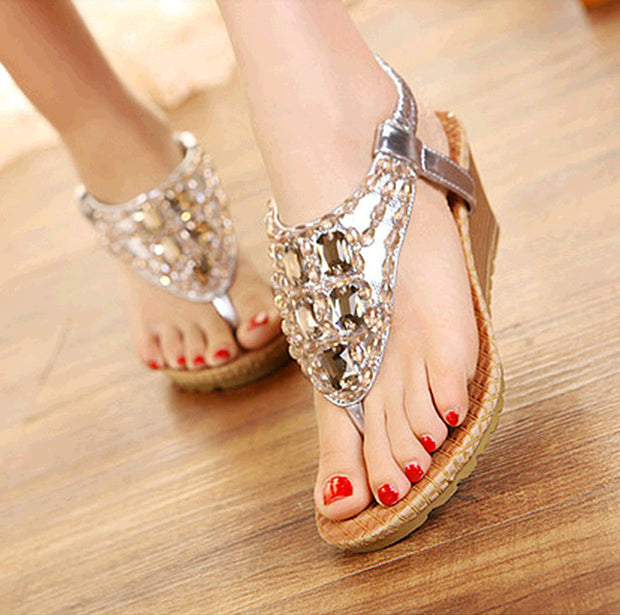 Women's Fashion Metal Glossy Fashion Flip Flops - Shop Shiningbabe - Womens Fashion Online Shopping Offering Huge Discounts on Shoes - Heels, Sandals, Boots, Slippers; Clothing - Tops, Dresses, Jumpsuits, and More.