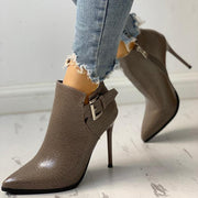 Snakeskin Point Toe Thin Heeled Ankle Boots - Shop Shiningbabe - Womens Fashion Online Shopping Offering Huge Discounts on Shoes - Heels, Sandals, Boots, Slippers; Clothing - Tops, Dresses, Jumpsuits, and More.