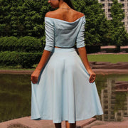 Off Shouldered Navel Button Dress - Shop Shiningbabe - Womens Fashion Online Shopping Offering Huge Discounts on Shoes - Heels, Sandals, Boots, Slippers; Clothing - Tops, Dresses, Jumpsuits, and More.