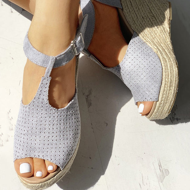 Suede Hollow Out Espadrille Wedge Sandals - Shop Shiningbabe - Womens Fashion Online Shopping Offering Huge Discounts on Shoes - Heels, Sandals, Boots, Slippers; Clothing - Tops, Dresses, Jumpsuits, and More.