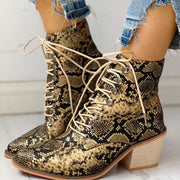 Pointed Toe Lace-up Snakeskin Chunky Heeled Boots - Shop Shiningbabe - Womens Fashion Online Shopping Offering Huge Discounts on Shoes - Heels, Sandals, Boots, Slippers; Clothing - Tops, Dresses, Jumpsuits, and More.