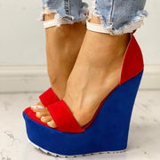 Colorblock Ankle Buckled Platform Wedge Sandals - Shop Shiningbabe - Womens Fashion Online Shopping Offering Huge Discounts on Shoes - Heels, Sandals, Boots, Slippers; Clothing - Tops, Dresses, Jumpsuits, and More.