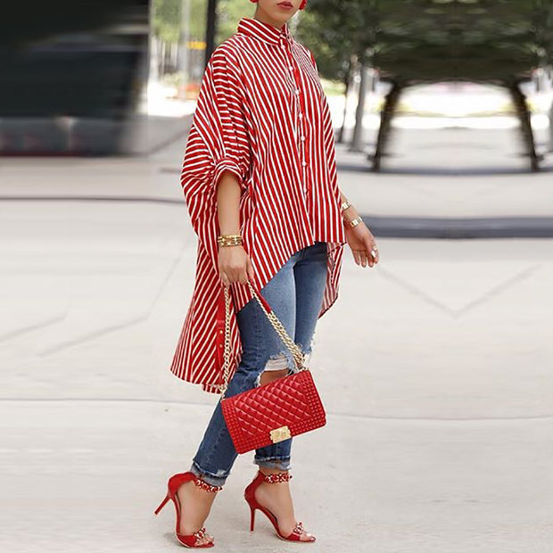 Striped Batwing Sleeve Dip Hem Blouse - Shop Shiningbabe - Womens Fashion Online Shopping Offering Huge Discounts on Shoes - Heels, Sandals, Boots, Slippers; Clothing - Tops, Dresses, Jumpsuits, and More.