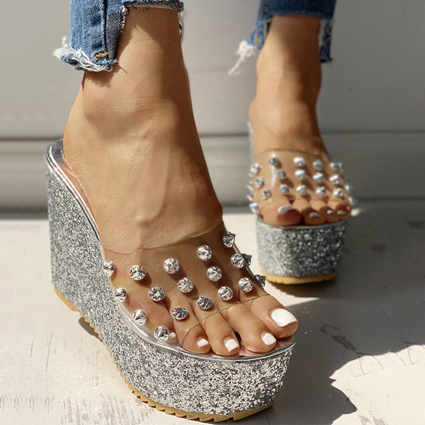 Transparent Rivet Detail Platform Wedge Sandals - Shop Shiningbabe - Womens Fashion Online Shopping Offering Huge Discounts on Shoes - Heels, Sandals, Boots, Slippers; Clothing - Tops, Dresses, Jumpsuits, and More.