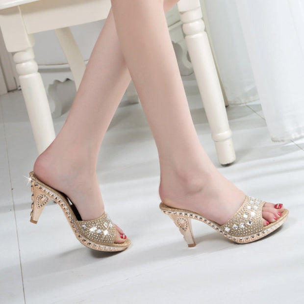 Rhinestone Solid Color Small Thick Sandals - Shop Shiningbabe - Womens Fashion Online Shopping Offering Huge Discounts on Shoes - Heels, Sandals, Boots, Slippers; Clothing - Tops, Dresses, Jumpsuits, and More.
