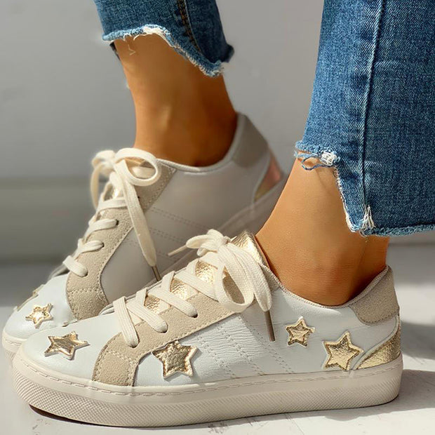 Star Design Casual Lace-Up Sneakers - Shop Shiningbabe - Womens Fashion Online Shopping Offering Huge Discounts on Shoes - Heels, Sandals, Boots, Slippers; Clothing - Tops, Dresses, Jumpsuits, and More.