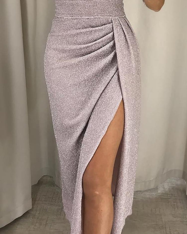 Glitter Ruched Thigh Slit Party Dress - Shop Shiningbabe - Womens Fashion Online Shopping Offering Huge Discounts on Shoes - Heels, Sandals, Boots, Slippers; Clothing - Tops, Dresses, Jumpsuits, and More.