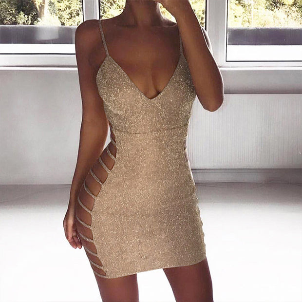 Sling Strap Gold Silk Dress - Shop Shiningbabe - Womens Fashion Online Shopping Offering Huge Discounts on Shoes - Heels, Sandals, Boots, Slippers; Clothing - Tops, Dresses, Jumpsuits, and More.