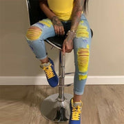 Colorblock Yellow Cutout Skinny Jeans