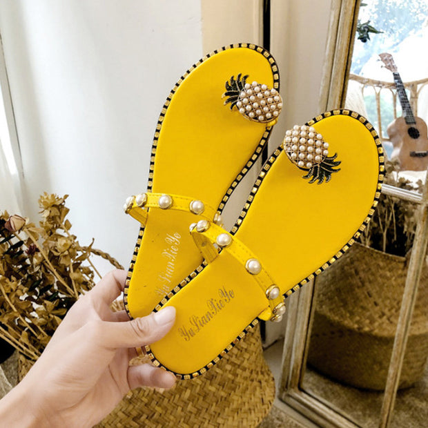 Pineapple Pattern Toe Pearl Casual Sandals - Shop Shiningbabe - Womens Fashion Online Shopping Offering Huge Discounts on Shoes - Heels, Sandals, Boots, Slippers; Clothing - Tops, Dresses, Jumpsuits, and More.