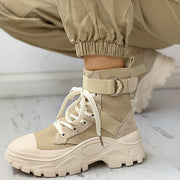 Colorblock Lace-Up Platform Boots - Shop Shiningbabe - Womens Fashion Online Shopping Offering Huge Discounts on Shoes - Heels, Sandals, Boots, Slippers; Clothing - Tops, Dresses, Jumpsuits, and More.