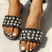 Bead Studded Detail Flat Sandals - Shop Shiningbabe - Womens Fashion Online Shopping Offering Huge Discounts on Shoes - Heels, Sandals, Boots, Slippers; Clothing - Tops, Dresses, Jumpsuits, and More.