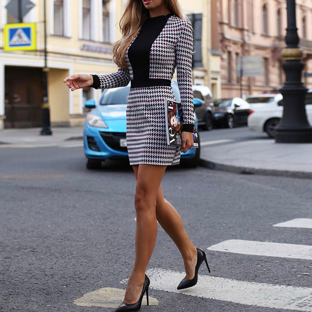 Houndstooth Insert Tweed sheath Dress - Shop Shiningbabe - Womens Fashion Online Shopping Offering Huge Discounts on Shoes - Heels, Sandals, Boots, Slippers; Clothing - Tops, Dresses, Jumpsuits, and More.