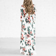 Long Sleeved Elastic Waist Floral Print Maxi Dress - Shop Shiningbabe - Womens Fashion Online Shopping Offering Huge Discounts on Shoes - Heels, Sandals, Boots, Slippers; Clothing - Tops, Dresses, Jumpsuits, and More.