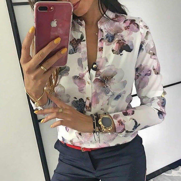 Floral Print Button Design Long Sleeve Blouse - Shop Shiningbabe - Womens Fashion Online Shopping Offering Huge Discounts on Shoes - Heels, Sandals, Boots, Slippers; Clothing - Tops, Dresses, Jumpsuits, and More.