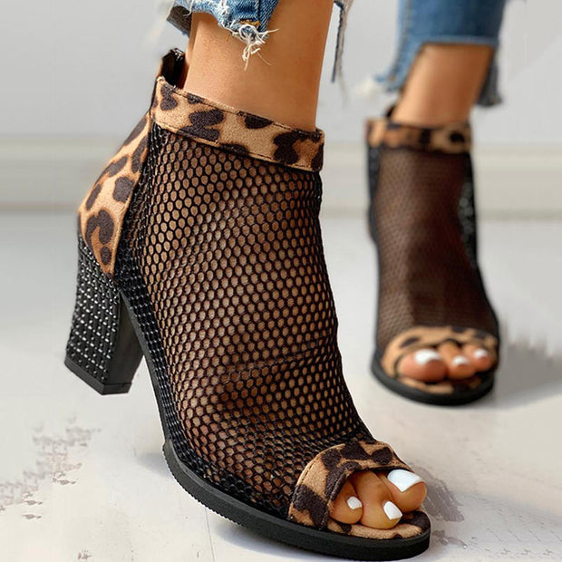 Leopard Mesh Patchwork Peep Toe Boots - Shop Shiningbabe - Womens Fashion Online Shopping Offering Huge Discounts on Shoes - Heels, Sandals, Boots, Slippers; Clothing - Tops, Dresses, Jumpsuits, and More.