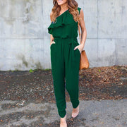 Irregular ruffled straps with chiffon jumpsuit - Shop Shiningbabe - Womens Fashion Online Shopping Offering Huge Discounts on Shoes - Heels, Sandals, Boots, Slippers; Clothing - Tops, Dresses, Jumpsuits, and More.