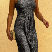 Glitter Round Neck Sleeveless Backless Sequins Jumpsuit - Cherrybetty