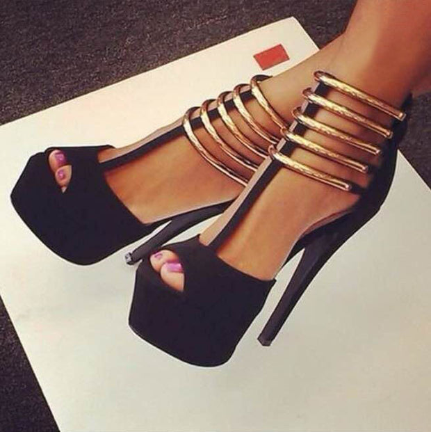 Nightclub Metal Ring Pointed Platform High Heels - Shop Shiningbabe - Womens Fashion Online Shopping Offering Huge Discounts on Shoes - Heels, Sandals, Boots, Slippers; Clothing - Tops, Dresses, Jumpsuits, and More.