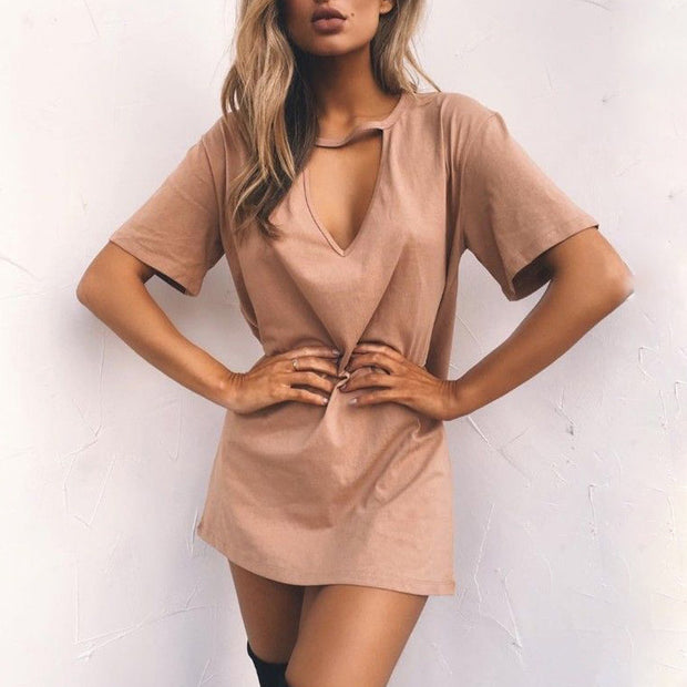 Deep V Short Sleeve Loose Casual Dress - Shop Shiningbabe - Womens Fashion Online Shopping Offering Huge Discounts on Shoes - Heels, Sandals, Boots, Slippers; Clothing - Tops, Dresses, Jumpsuits, and More.