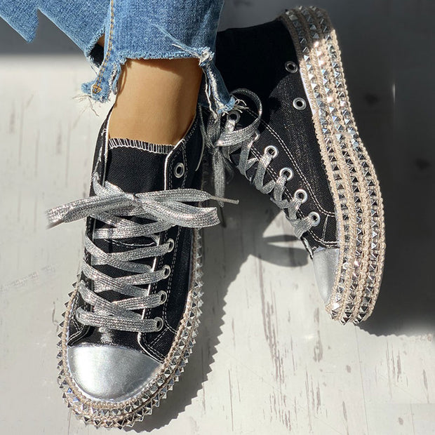 Leopard Rivet Embellished Lace-Up Sneakers - Shop Shiningbabe - Womens Fashion Online Shopping Offering Huge Discounts on Shoes - Heels, Sandals, Boots, Slippers; Clothing - Tops, Dresses, Jumpsuits, and More.