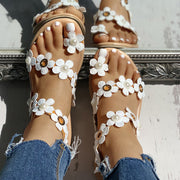 Floral Embellished Casual Sandals - Shop Shiningbabe - Womens Fashion Online Shopping Offering Huge Discounts on Shoes - Heels, Sandals, Boots, Slippers; Clothing - Tops, Dresses, Jumpsuits, and More.