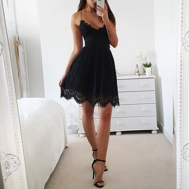 V-neck Halter Lace Sleeveless Strapless Dress - Shop Shiningbabe - Womens Fashion Online Shopping Offering Huge Discounts on Shoes - Heels, Sandals, Boots, Slippers; Clothing - Tops, Dresses, Jumpsuits, and More.