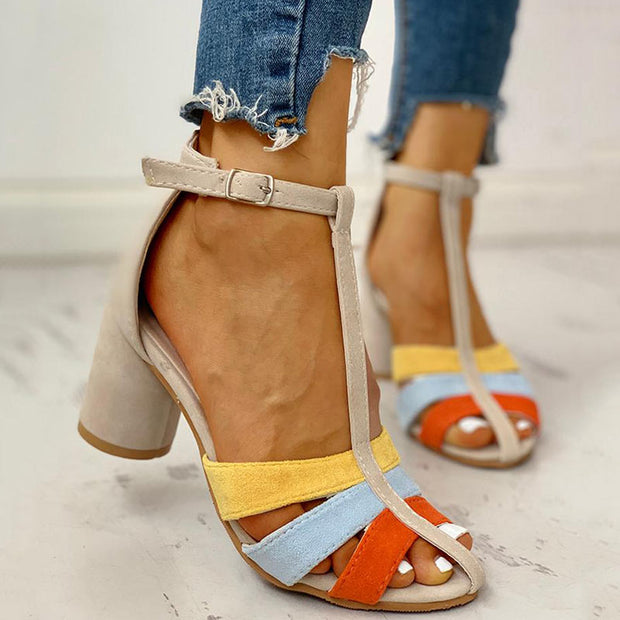 Ankle Buckled Colorblock Chunky Heeled Sandals - Shop Shiningbabe - Womens Fashion Online Shopping Offering Huge Discounts on Shoes - Heels, Sandals, Boots, Slippers; Clothing - Tops, Dresses, Jumpsuits, and More.