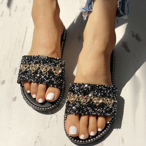 Open Toe Studded Design Flat Sandals - Shop Shiningbabe - Womens Fashion Online Shopping Offering Huge Discounts on Shoes - Heels, Sandals, Boots, Slippers; Clothing - Tops, Dresses, Jumpsuits, and More.