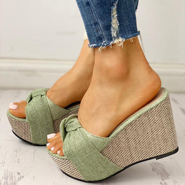 Twisted Knot Design Platform Wedge Sandals - Shop Shiningbabe - Womens Fashion Online Shopping Offering Huge Discounts on Shoes - Heels, Sandals, Boots, Slippers; Clothing - Tops, Dresses, Jumpsuits, and More.