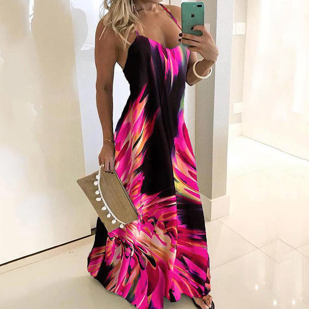 Spaghetti Strap Colorful Print Maxi Dress - Shop Shiningbabe - Womens Fashion Online Shopping Offering Huge Discounts on Shoes - Heels, Sandals, Boots, Slippers; Clothing - Tops, Dresses, Jumpsuits, and More.
