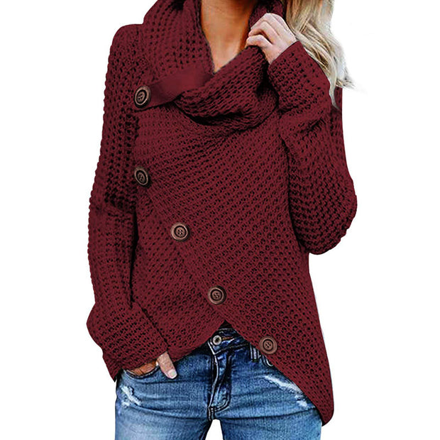 Fashion Buckle High Collar Pullover Sweater - Shop Shiningbabe - Womens Fashion Online Shopping Offering Huge Discounts on Shoes - Heels, Sandals, Boots, Slippers; Clothing - Tops, Dresse