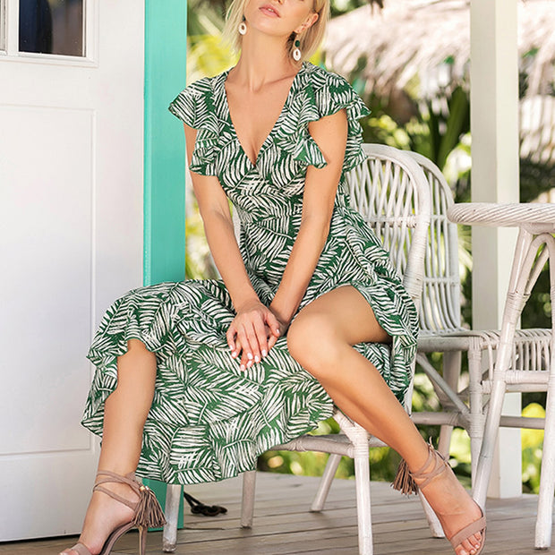 Printed V-neck Flying Sleeves Irregular Dress - Shop Shiningbabe - Womens Fashion Online Shopping Offering Huge Discounts on Shoes - Heels, Sandals, Boots, Slippers; Clothing - Tops, Dresses, Jumpsuits, and More.